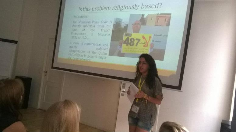 During my presentation on the My Body My Rights campaign in Morocco and the youth's participation in it. It was a warm day in Copenhagen! Credits: Maria Talvela