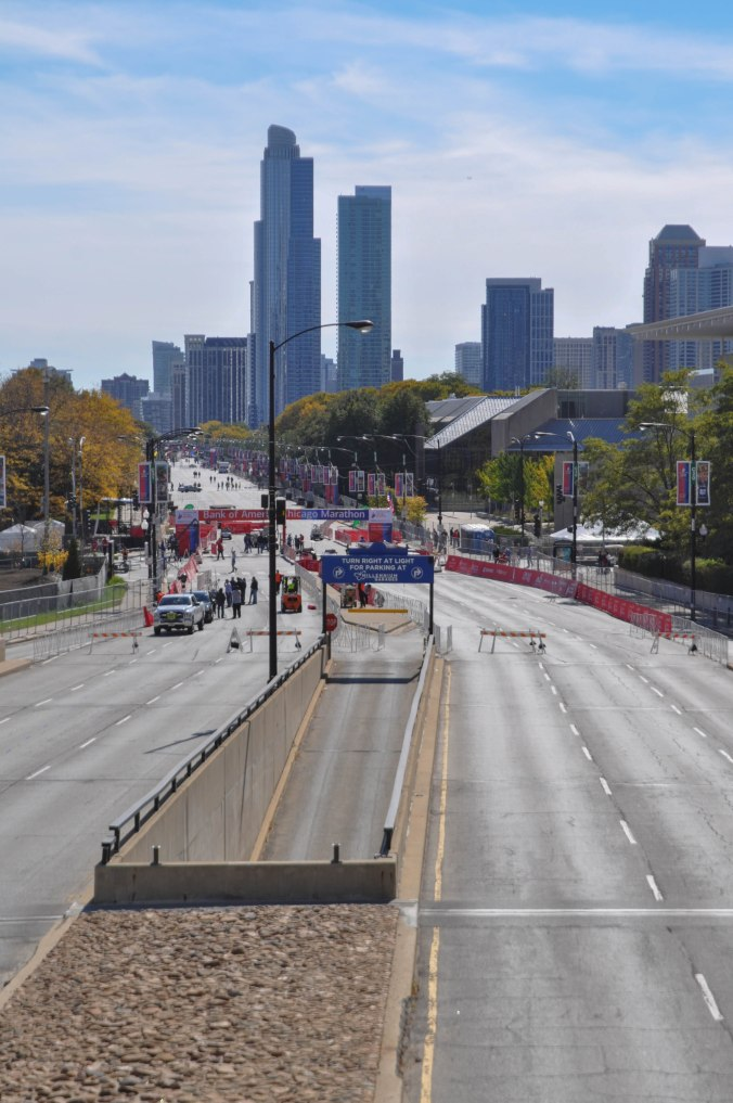 Chicago getting ready for the Bank of American Chicago Marathon!  The picture was taken from the BP serpentine bridge.