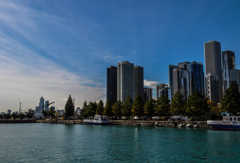 The Chicago skyline from Navy Pier!