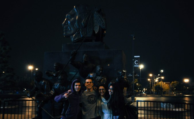 Blackhawks statue in front of United Center. L-t-R: Ramon, Francisco, me, and Amal. Credits: Hamza Lamzadri.