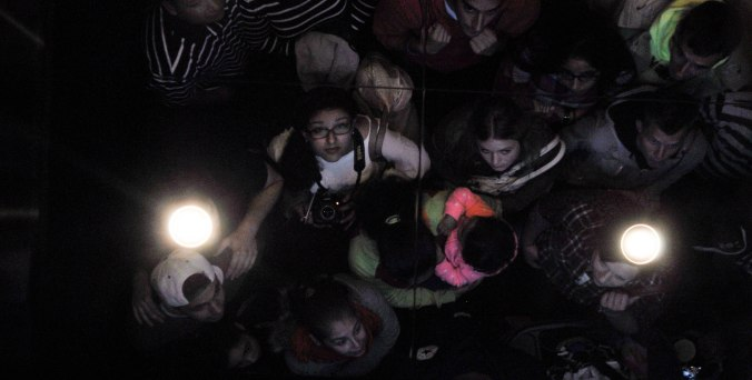 Ceiling selfie on the 90 second long elevator ride to the 103rd floor of Willis Tower.