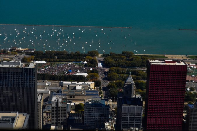 You can see people gathered at what I believe is Grant Park for the after-Marathon party.