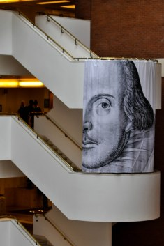 The inside of the British Library with an hommage to Shakespeare